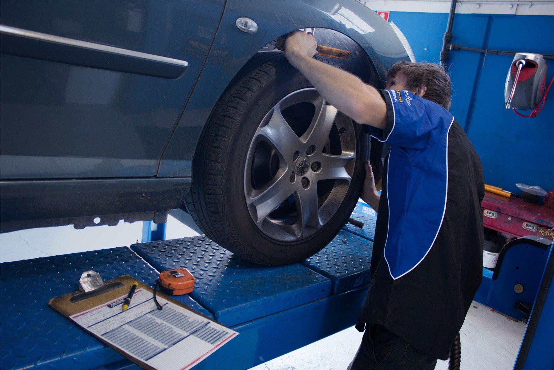 Car getting wheel aligned at Fulcrum Yeerongpilly