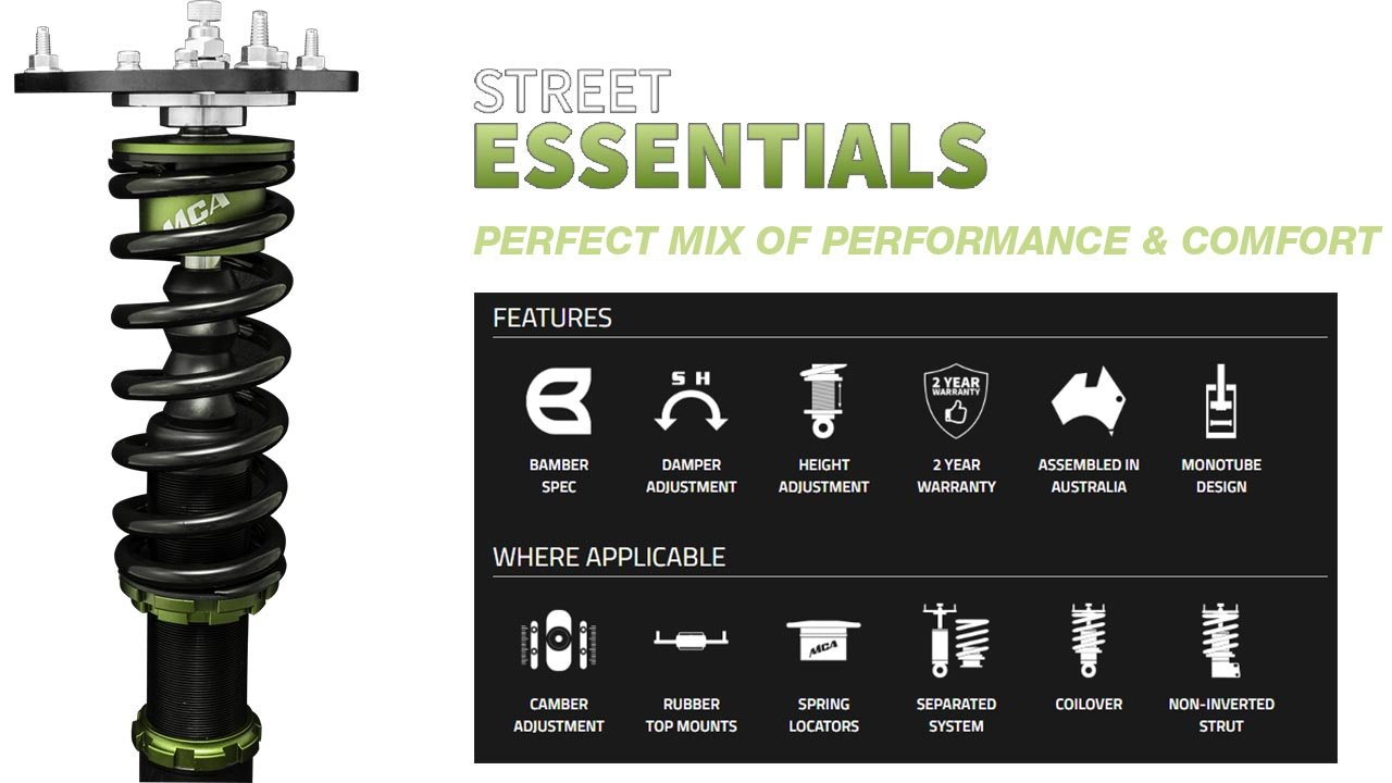 mca street essentials coilover features and specs
